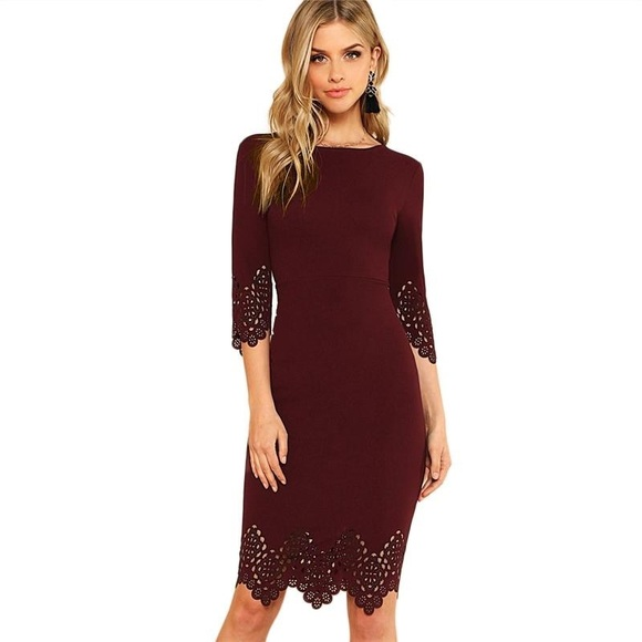 Dresses & Skirts - Elegant Scallop Hem Laser Cut Pencil Dress